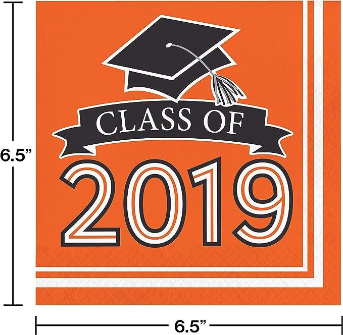"Creative Converting 335420 White Class Of 2019 Napkins 6.5/"","