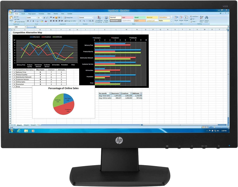 "HP N223 LED Monitor - 21.5"" (21.5"" viewable) - 1920 x 1080 Full HD (1080p) - TN - 250 cd/m² - 600:1-5 ms - HDMI, VGA - Black - Promo"