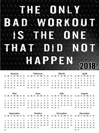 amazon com 2018 calendar poster workout motivation poster calendar