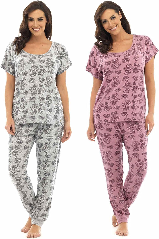 Wolf /& Harte 2 Pack Ladies Floral Print Polycotton Long Sleeve Pyjama Lounge Wear