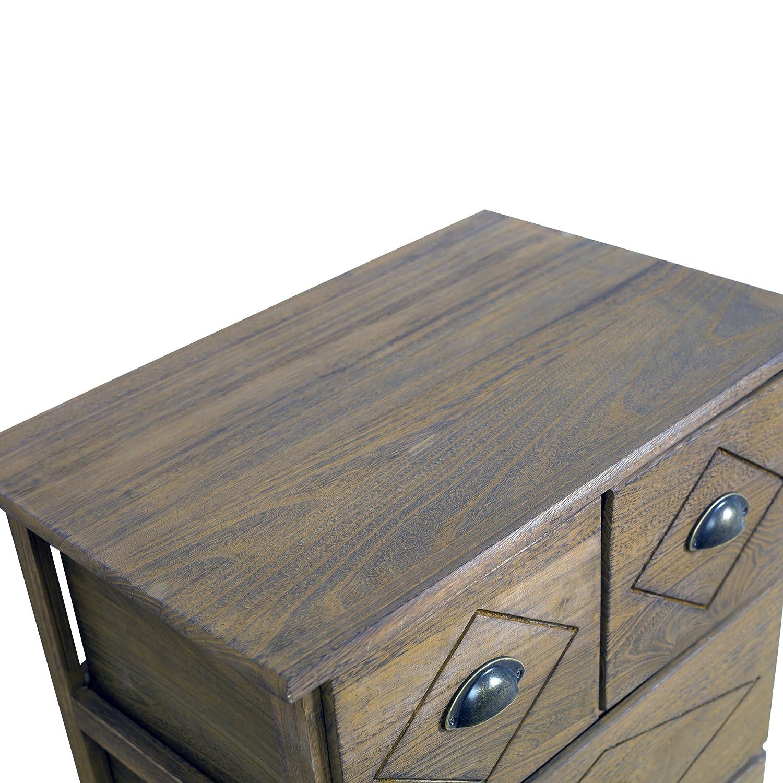 Rebecca srl credenza cassettiera 6 cassetti legno marrone shabby ...