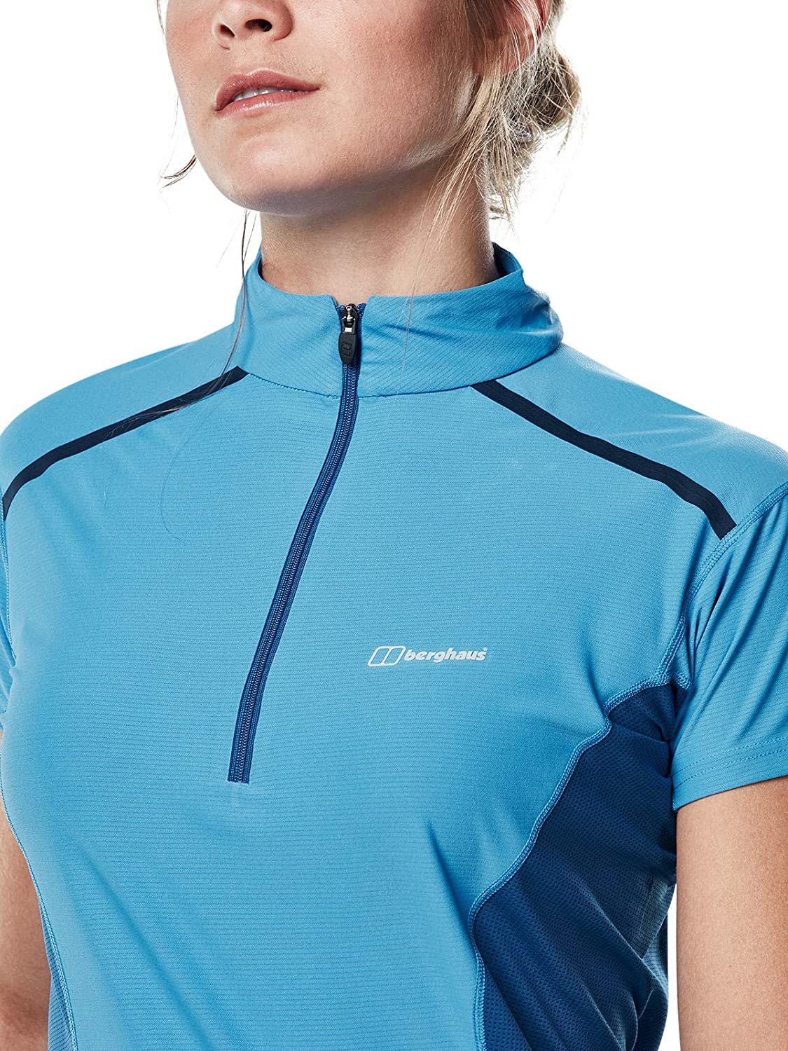 Berghaus Womens Super Zip Neck Tech Tshirt Campanula Galaxy 14 Blue