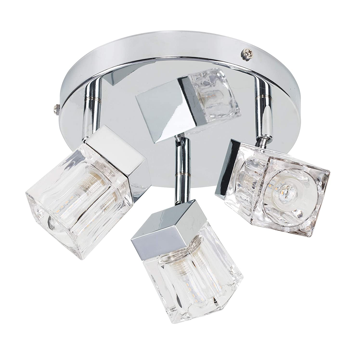Modern Chrome Ice Cube 3 Way IP44 Rated Bathroom Ceiling Light Spotlight