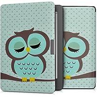 kwmobile hoes compatibel met Kobo Aura Edition 2 - Case voor e-reader in turquoise/bruin/mintgroen - Slapende Uil