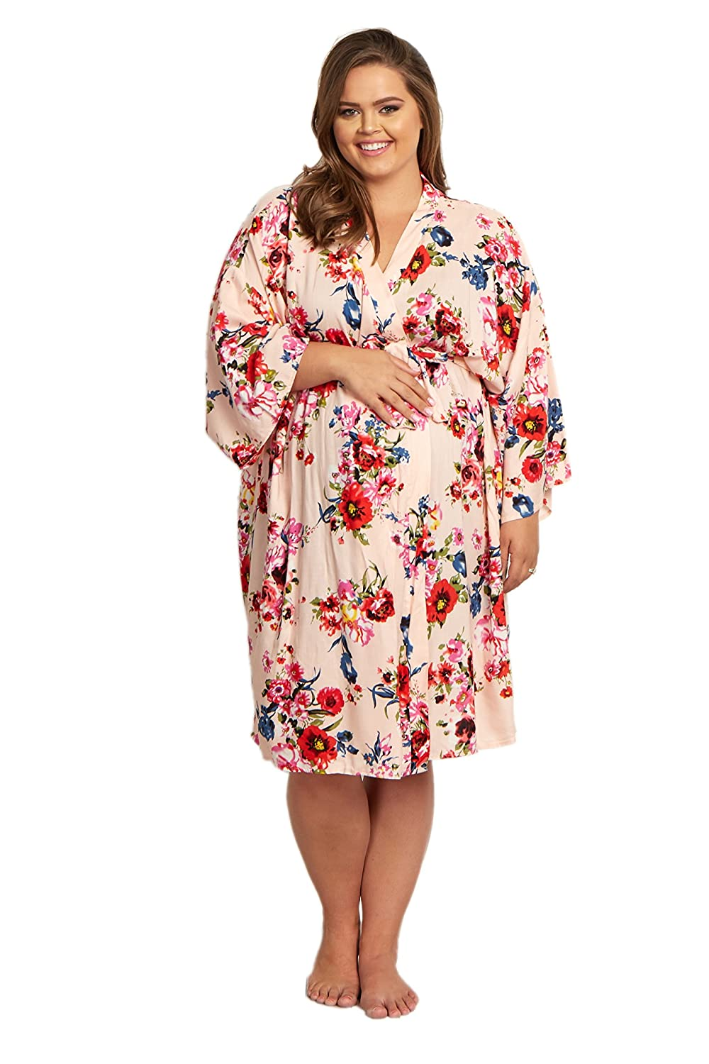 6e82b3ee26 PinkBlush Maternity Floral Plus Size Dressing Robe at Amazon Women s  Clothing store