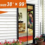 """Magnetic Screen Door, Mosquito Door Mesh 38 X 99 Fit Doors Size Up to 36""""W X 98""""H Max with Full Frame Velcro Large Magnet French Door Curtain Keep Fly Mosquito Out"""