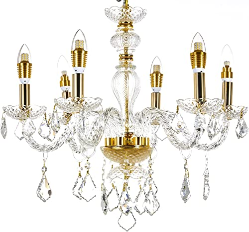 New Legend Lighting 5-Light Gold Finish Crystal Chandelier Pendant Ceiling Light Clear European Crystal, 22 Wide