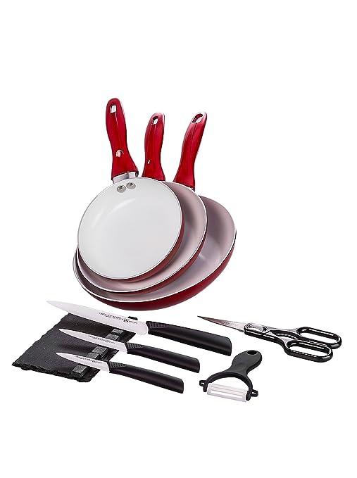 Santa Clara Quttin Set 3 Sartenes Eco + Set Cuchillos Suprem Ceramic Rojo