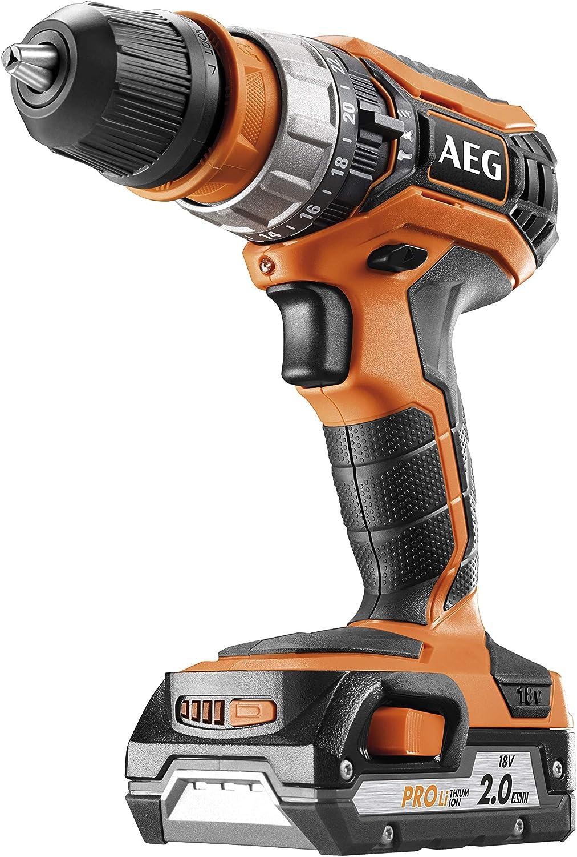 AEG 4935459423 Taladro Atornillador Compacto 18V - 2,0 Ah -PRO LITHIUM 50Nm - bucha destacable 13mm