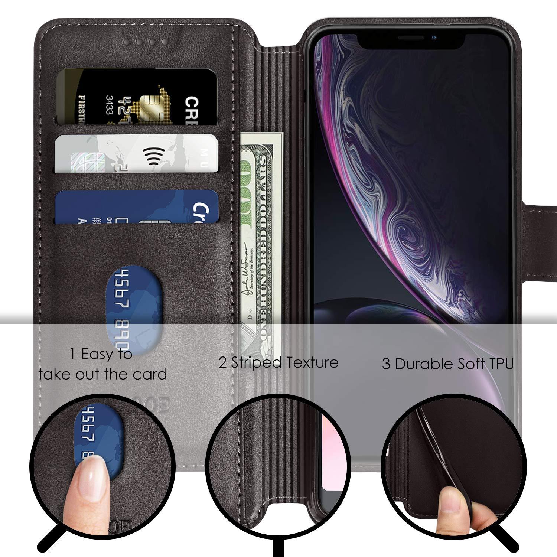 ykooe H/ülle f/ür iPhone XR Schwarz Hochwertig PU Leder Tasche Handyh/ülle f/ür Apple iPhone XR Schutzh/ülle