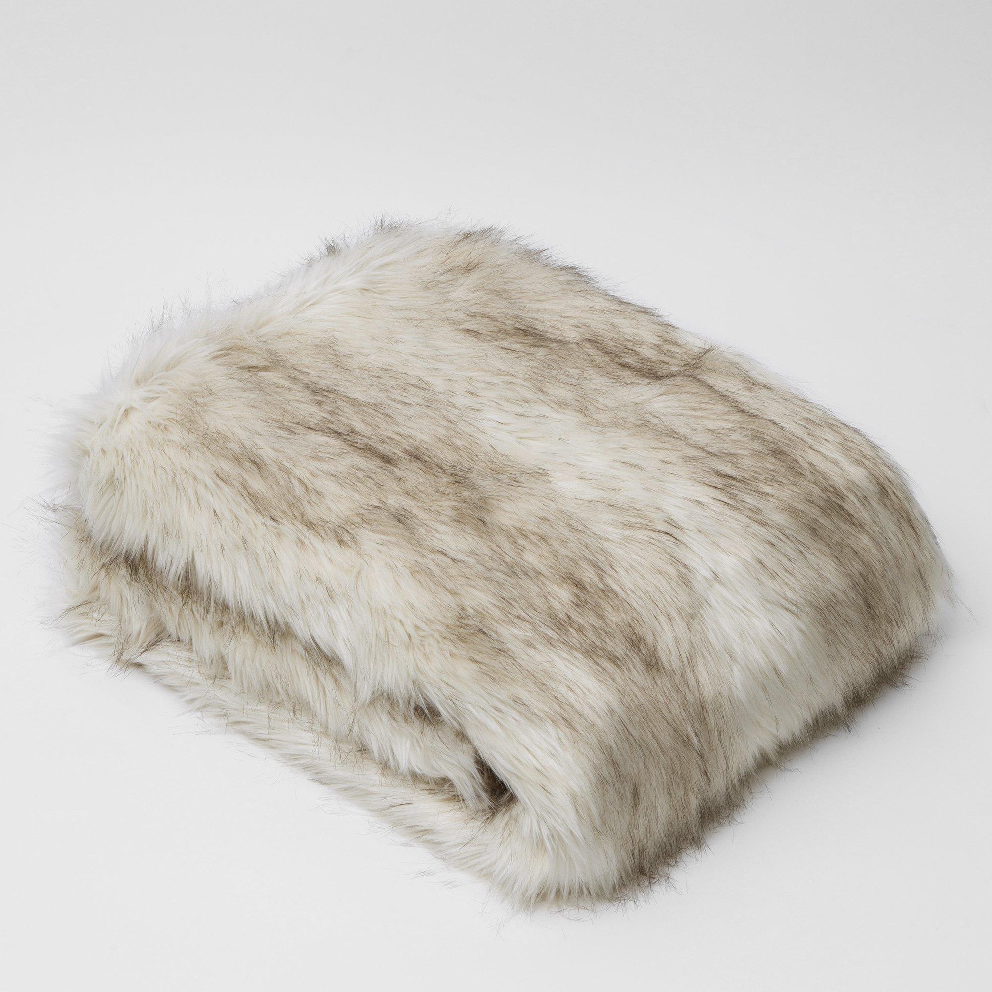 Best Home Fashion Faux Fur Throw - Full Blanket - Champagne Fox - 58''W x 84''L - (1 Throw)
