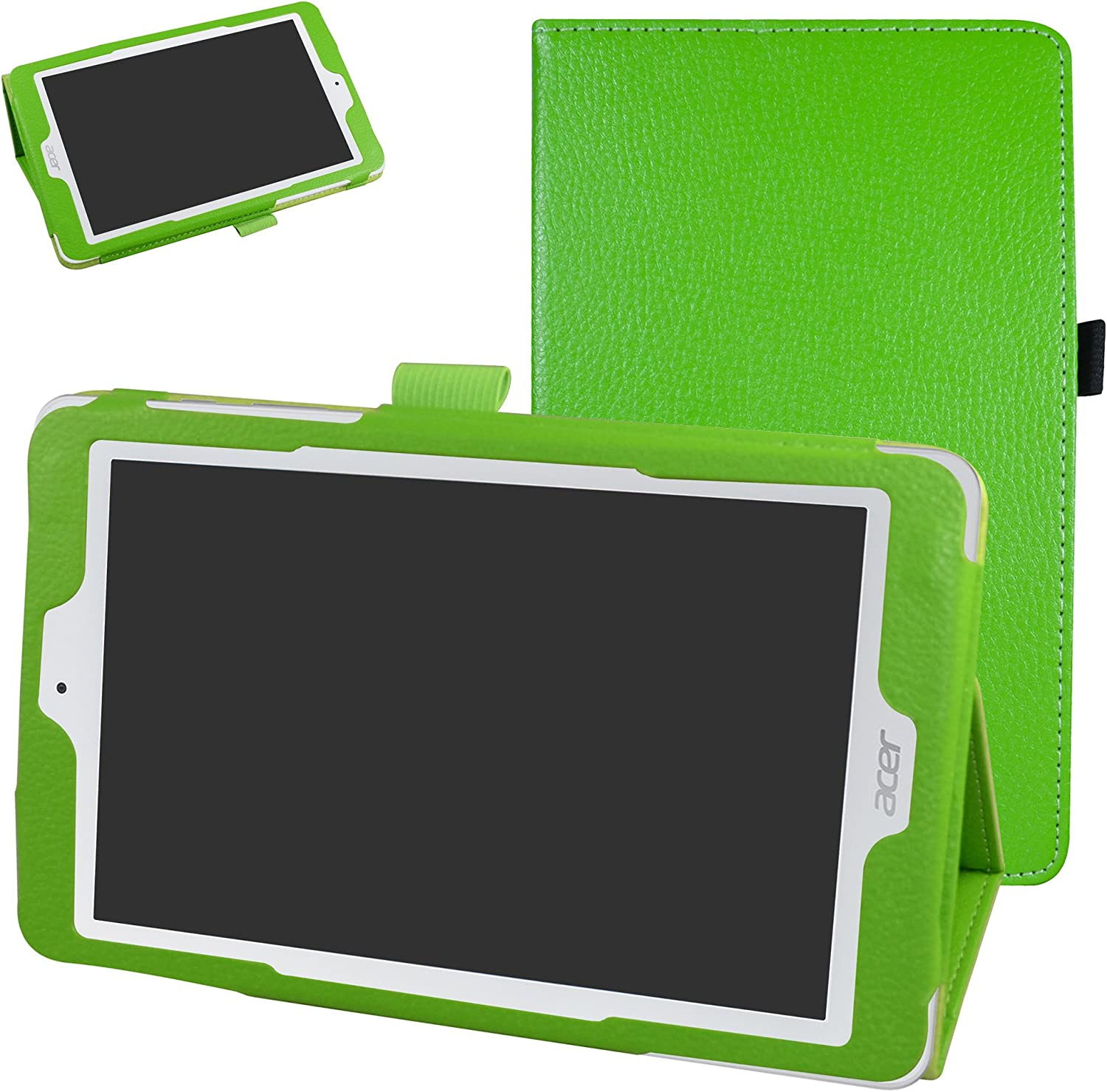 "Acer Iconia One 8 B1-850 Case,Mama Mouth PU Leather Folio 2-Folding Stand Cover with Stylus Holder for 8"" Acer Iconia One 8 B1-850 Android Tablet,Green"