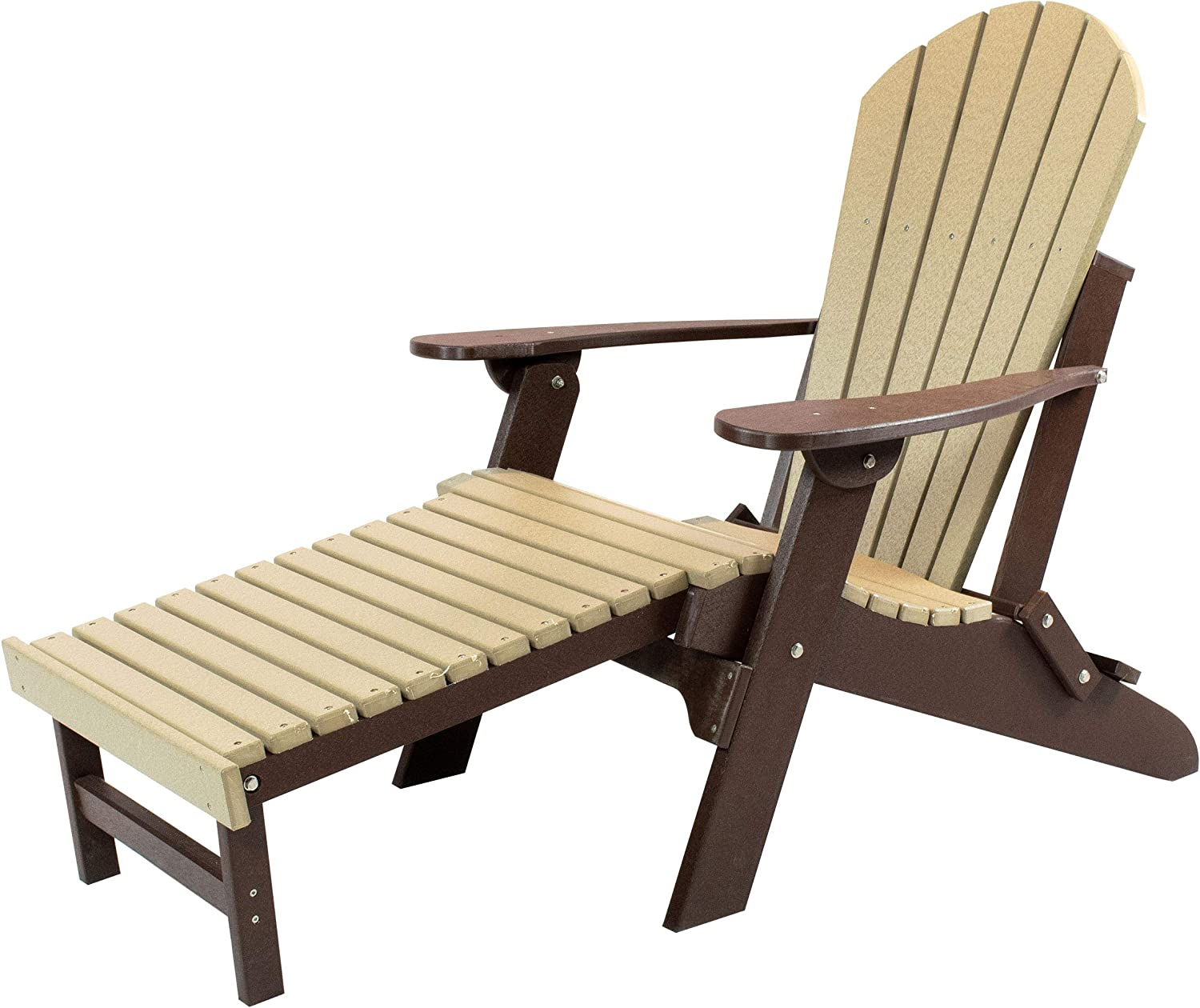 Amish Made Poly Folding Adirondack with Pull Out Ottoman (Weatherwood on Brown)