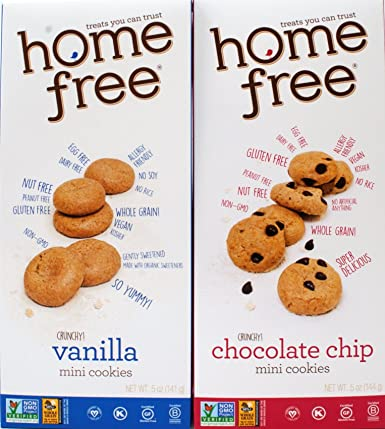 Home Free Gluten-Free Non-GMO Mini Cookies 2 Flavor Variety Bundle: (1) Chocolate Chip, and (1) Vanilla, 5 Ounces (2 Boxes)