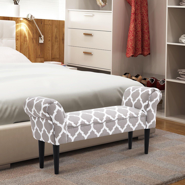 Amazon.com: Godyluck banco de tela de lino con apoyabrazos ...
