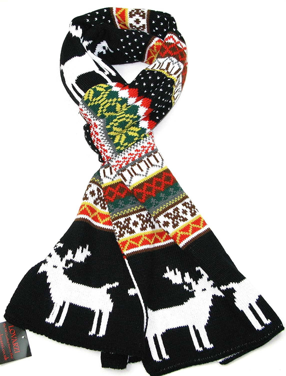 Reindeer Snowflake Christmas Scarves Lovarzi Winter Scarf for Women and Men