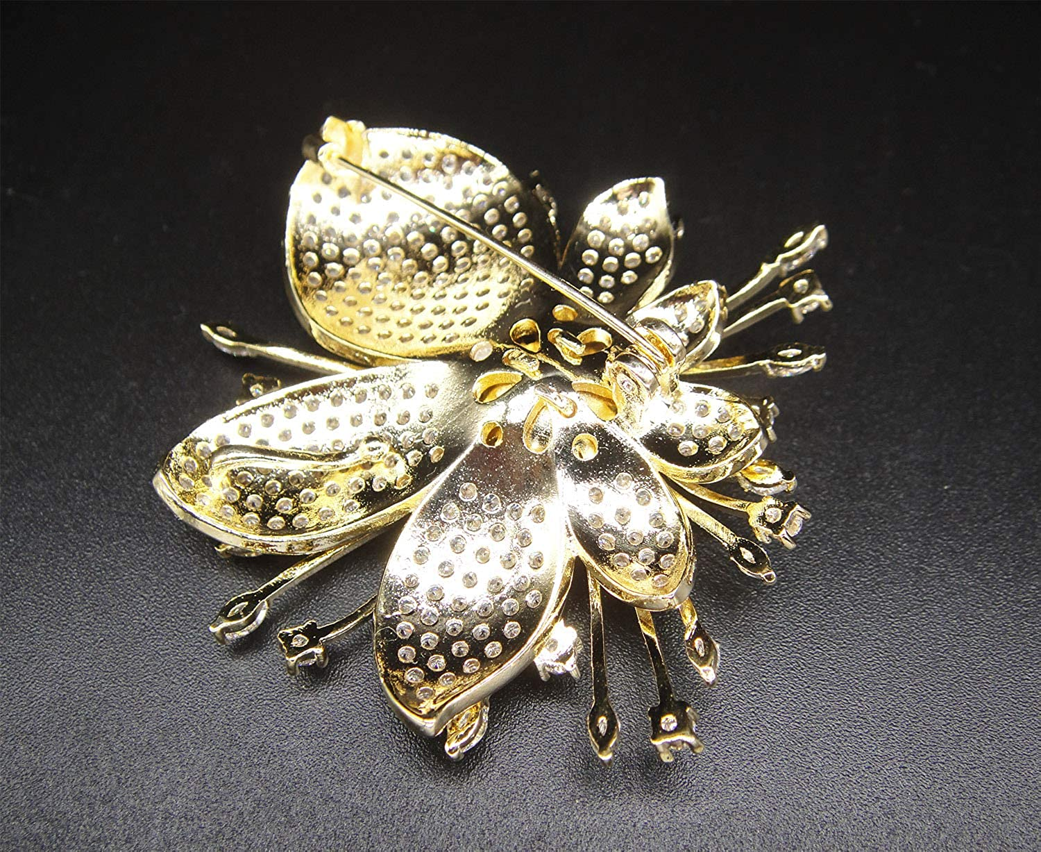 SUNNYHER Fashion CZ Jewelry Rhinestone Crystal Pearl 9mm Orchid Flower Bouquet Brooch Lapel Pin for Women Girl