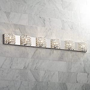 """Cesenna Modern Wall Light Chrome Hardwired 54 3/4"""" Wide 6-Light Fixture Clear Crystal Accents for Bathroom Vanity - Vienna Full Spectrum"""