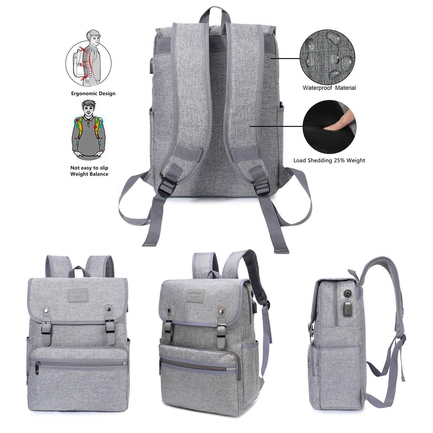 Laptop Backpack Men Women Business Travel Computer Backpack School College Bookbag Stylish Water Resistant Vintage Backpack with USB Port Fashion GREY Fits 15.6 Inch Laptop and Notebook by HFSX (Image #4)