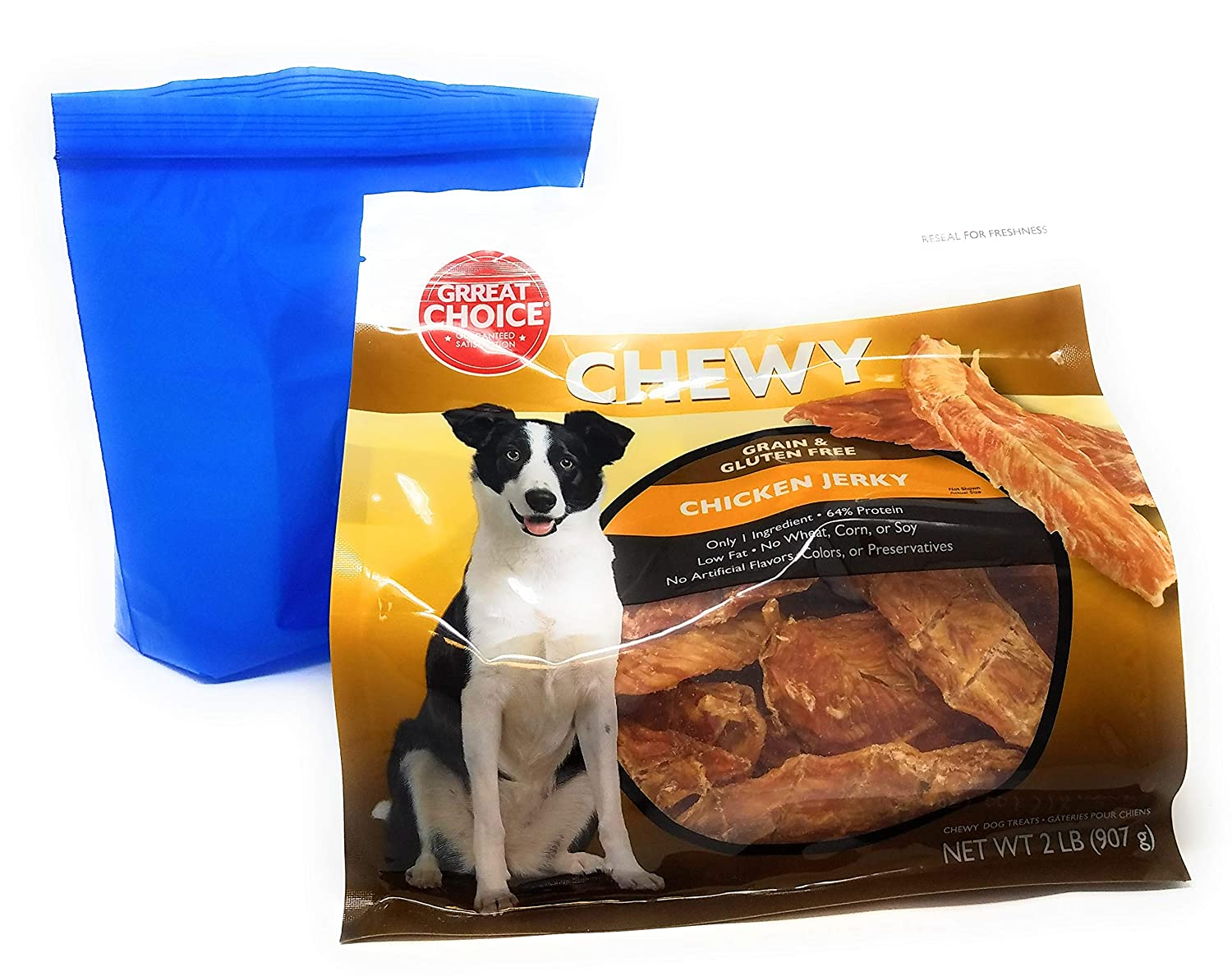 Grreat Choice Chewy Grain Free Chicken Jerky Dog Treats 2 Pounds and Tesadorz Resealable Bags