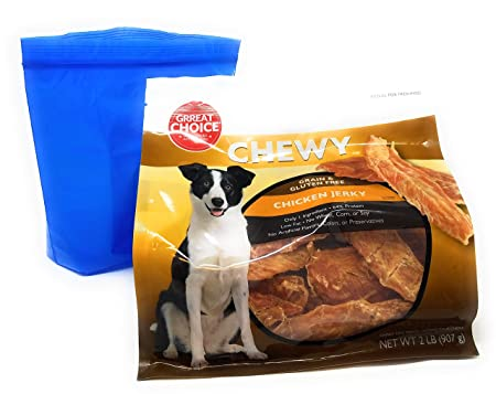 Grreat Choice Chewy Grain Free Chicken Jerky Dog Treats and Tesadorz Resealable Bags