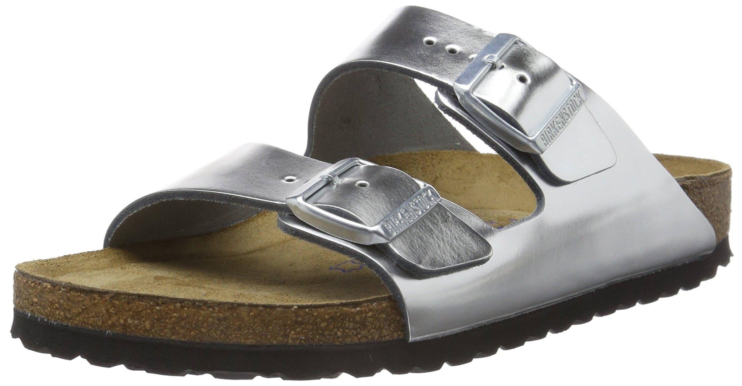 Birkenstock womens Arizona in Metallic Silver from Leather Sandals 39.0 EU N by Birkenstock