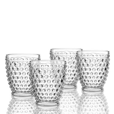 Elle Decor 229804-4OF Bistro Dot 4 Pc Set Old Fashion, Clear-Glass Elegant Barware and Drinkware, Dishwasher Safe, 10 oz,
