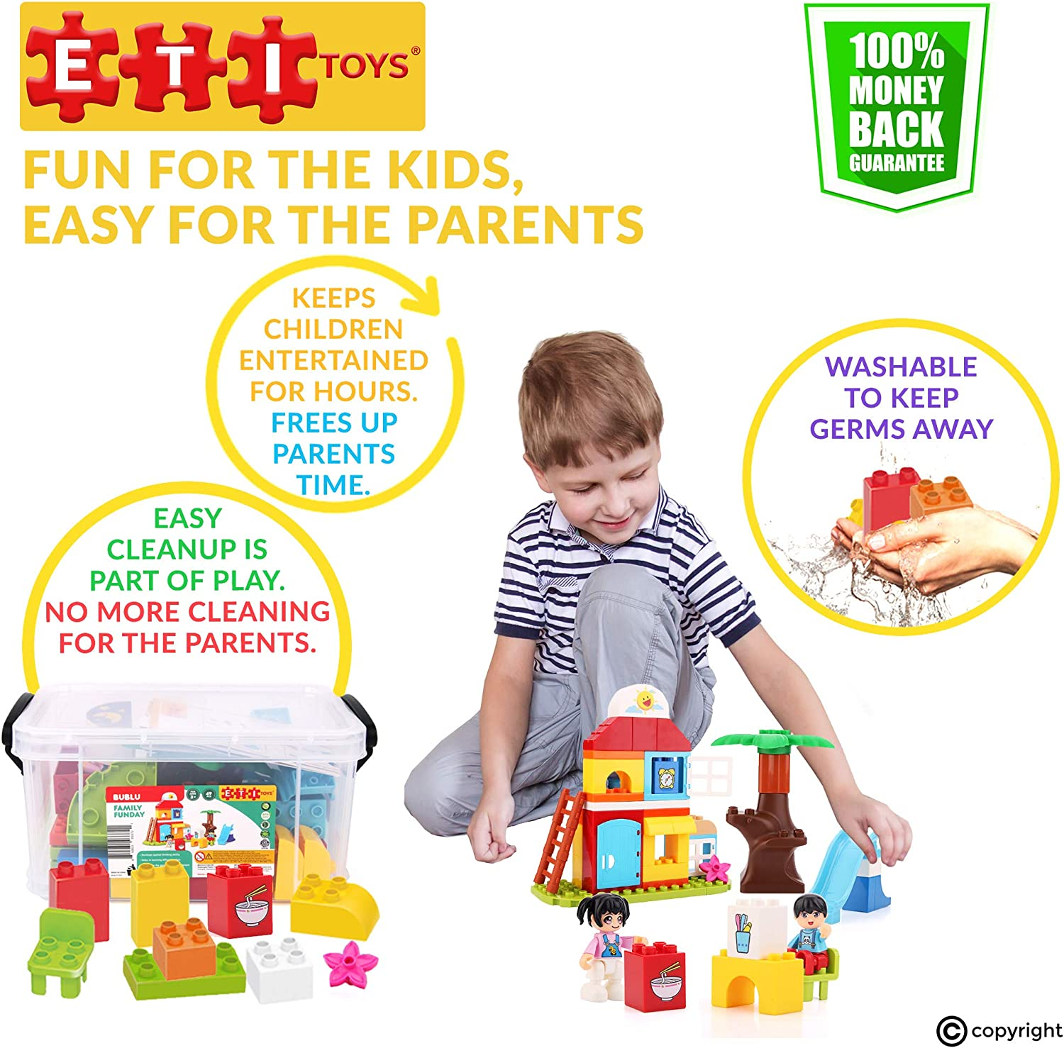 Toy for 3 100 Percent Safe Cozy Home Gift Creative Skills Development 4 49 Piece Bublu Family Funday Building Blocks Fun Slide ETI Toys Build Backyard Cookout 5 Year Old Boys and Girls