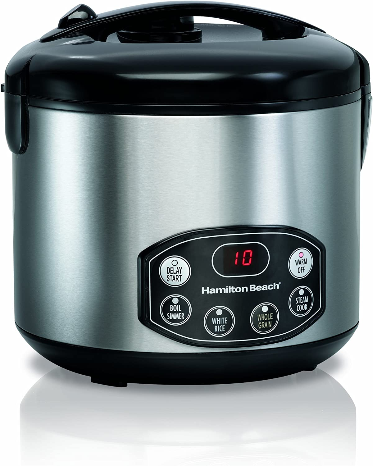 Hamilton Beach Digital Simplicity 10-Cups uncooked resulting in 20-Cups (Cooked) Rice Cooker and Steamer, Silver (37536)