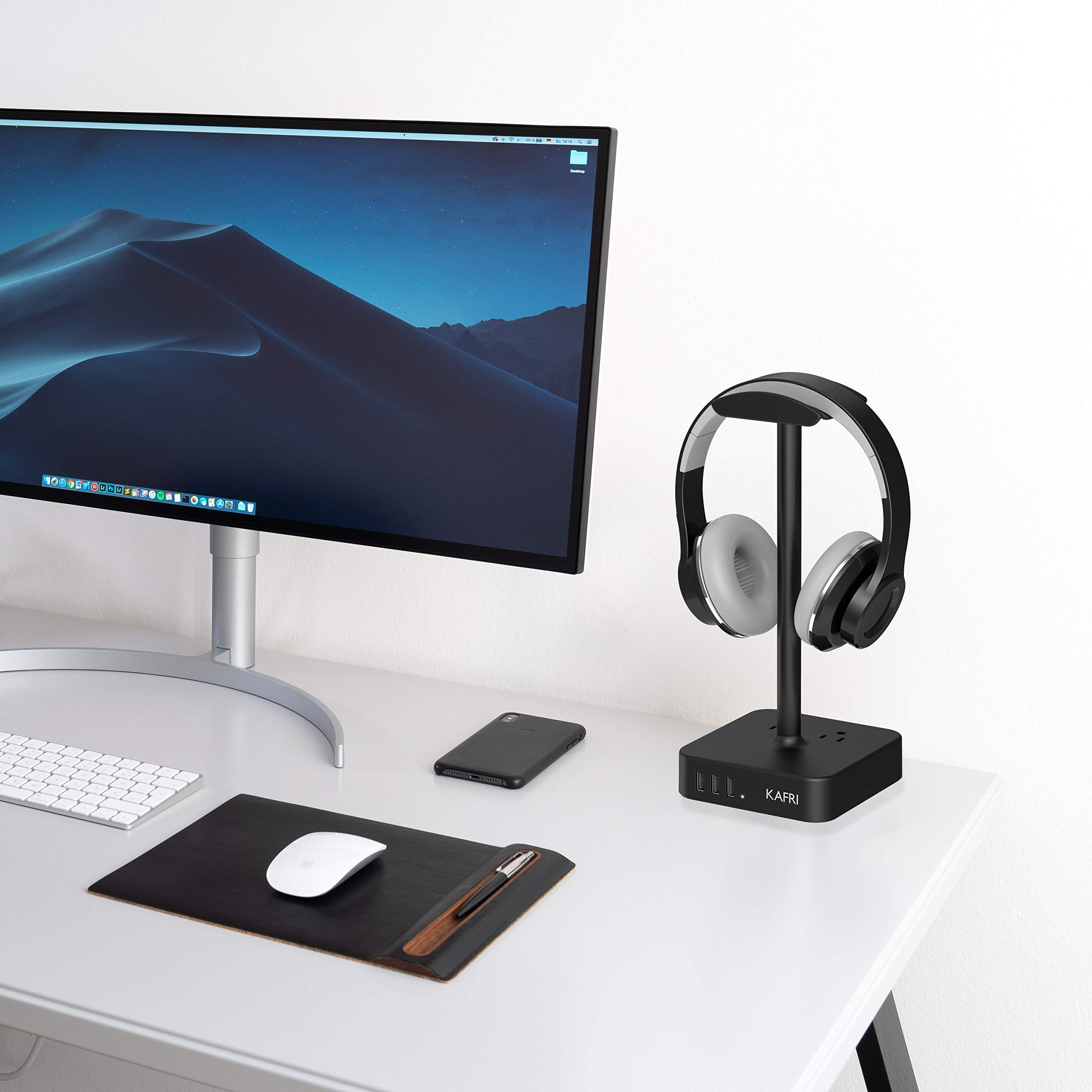 KAFRI Headphone Stand with USB Charger Desk Gaming Headset Holder Hanger Rack with 3 USB Charging Port and 2 AC Outlet - Suitable for Gamer Desktop Table Wireless Earphone Accessories Boyfriend Gift by KAFRI (Image #6)