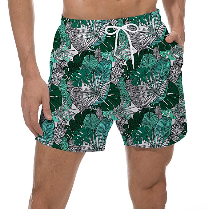 "ac9c5f61d0 UNICOMIDEA 90s Men Cool Swim Trunks Green Banana Leaf Board Short Quick Dry  Watershorts 18"""