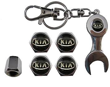 Valvulas de acero inoxidable para coche + llavero apreta tuercas Kia aut011-14