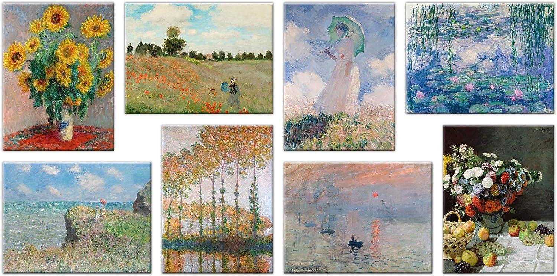 LuxHomeDecor Cuadros Claude Monet 8 Piezas 40 x 30 cm Impresión sobre Lienzo con Marco de Madera Decoración Arte Arte Moderno