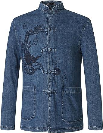 jeansian Hombre Estilo Etnico Retro Cardigan Camisa China Costume Tang Suit Kungfu Taichi Tang Shirt L950 Blue M: Amazon.es: Ropa y accesorios