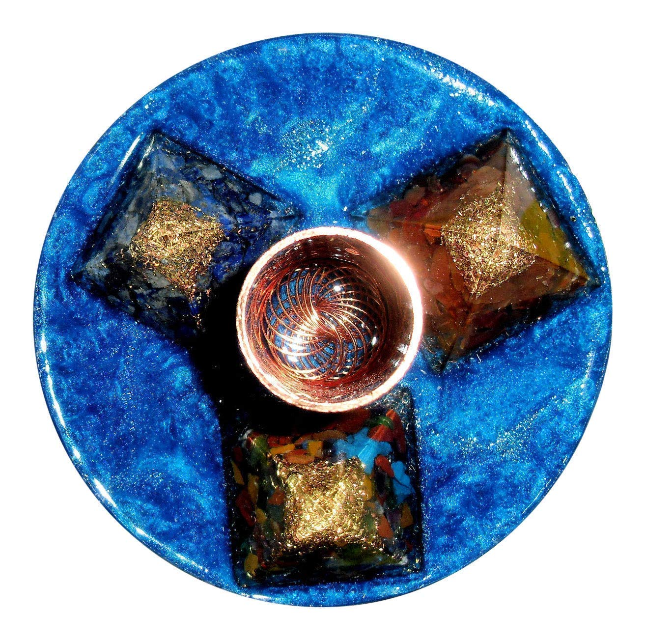 Turbo Orgone Energy System with Three Mini Pyramid for Robust EMF Protection