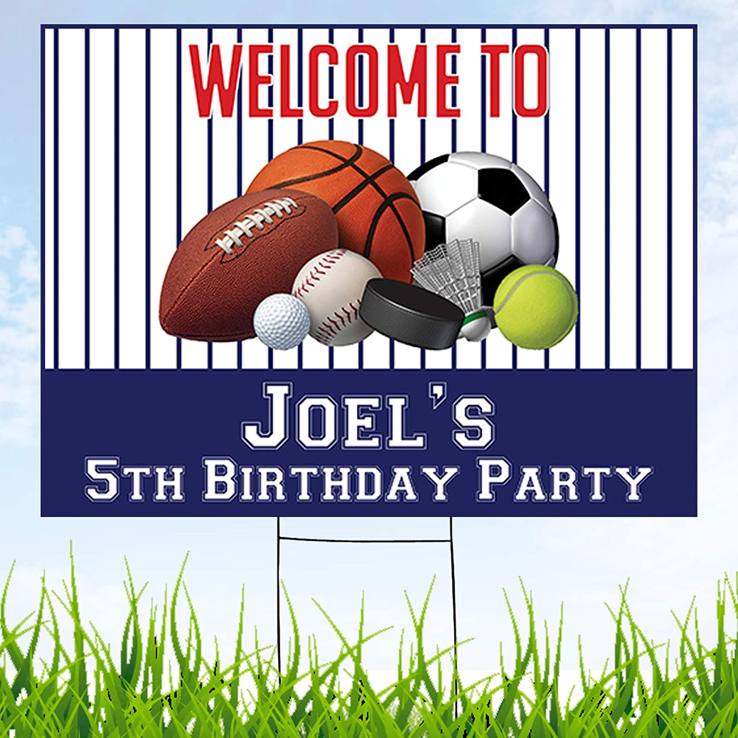 Amazon Com Sports Theme Party Personalized Yard Sign With Metal