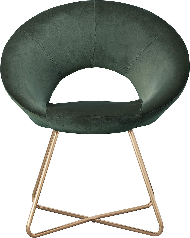 Montemaggi Sill/ón circular de terciopelo beige con patas de hierro color dorado 71 x 59 x 84 cm