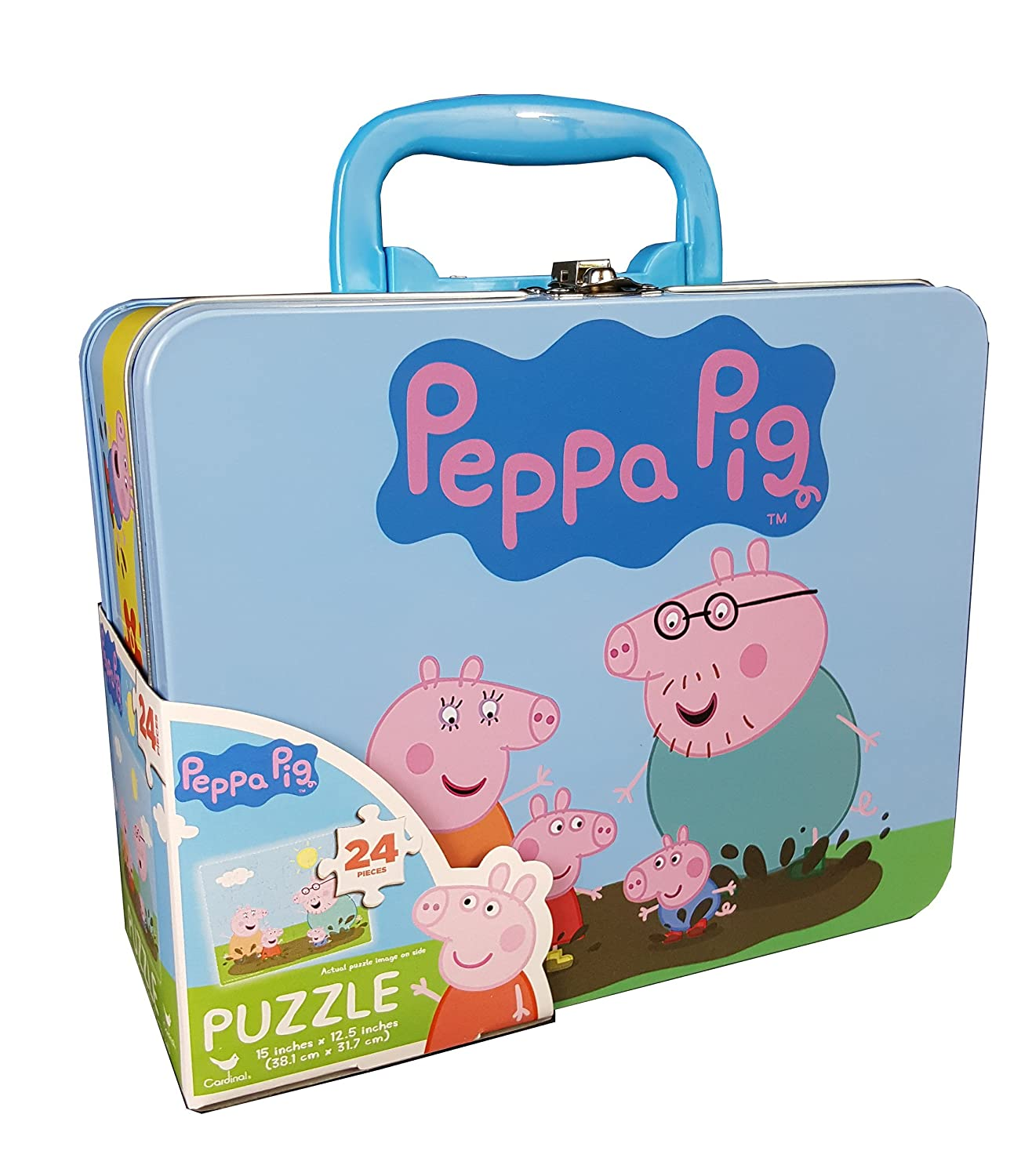 CARU9 6032891 Cardinal Industries Peppa Pig Puzzle in Tin with Handle 24 Pieces