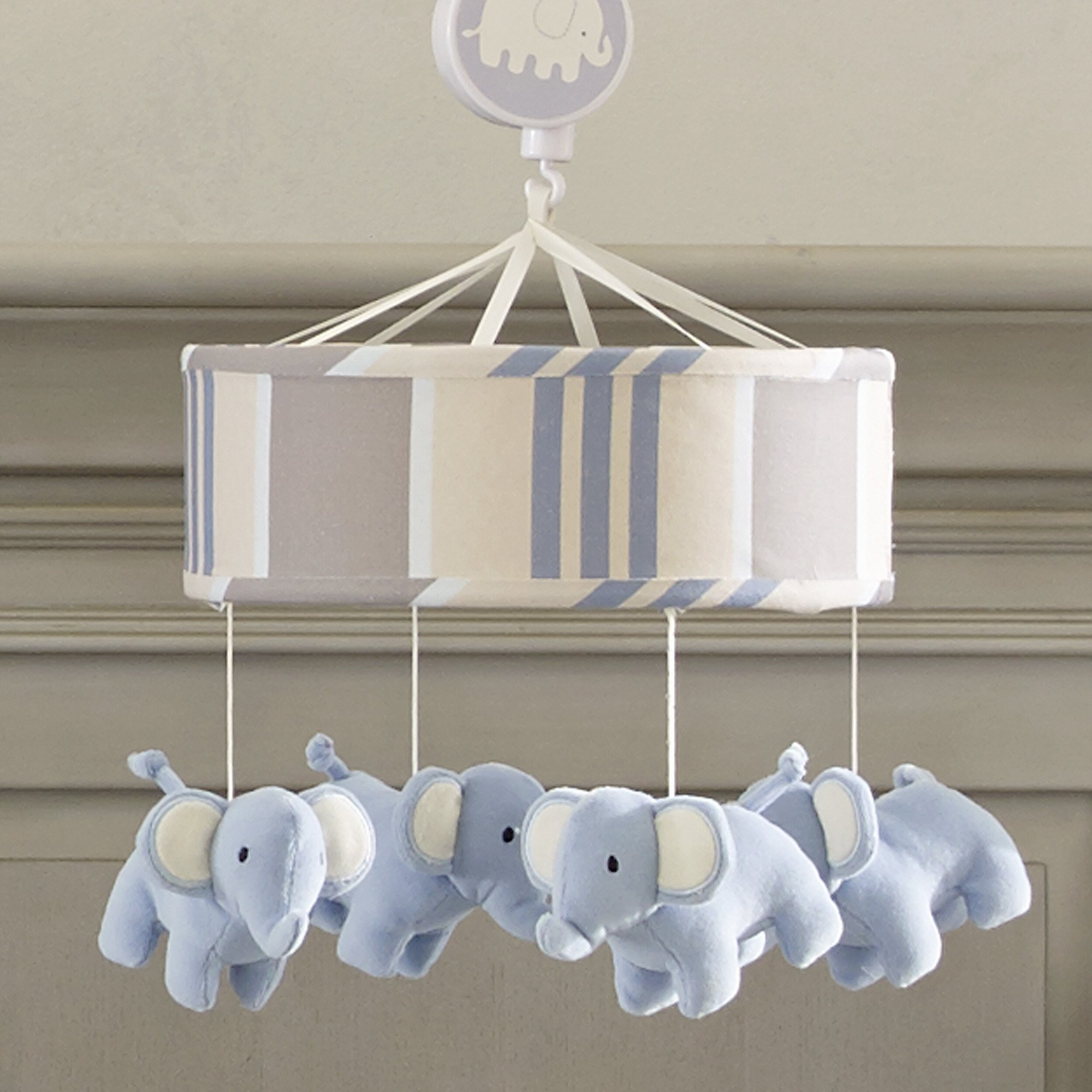 Lambs & Ivy Signature Blue Elephant Tales Crib Musical Mobile