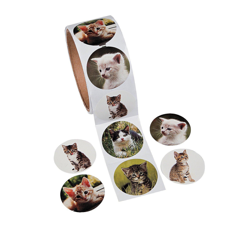 Amazon.com: Sticker de gatito Otc Kitty Cat, rollo de 100 ...