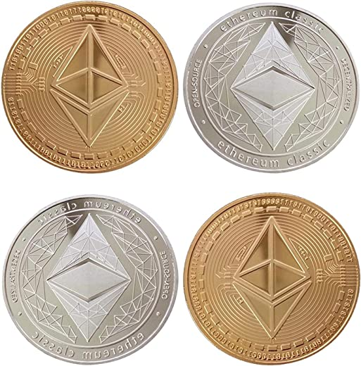 4Pcs Ethereum Coin, Gold and Silver Physical Blockchain Cryptocurrency for Securely Storing Crypto Offline, Crypto Currency for Ethereum Network