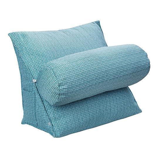 HALOVIE Almohada lumbar de cuña y flexible de respaldo para sofá, cama y silla de oficina 47 * 45 * 23cm Azul