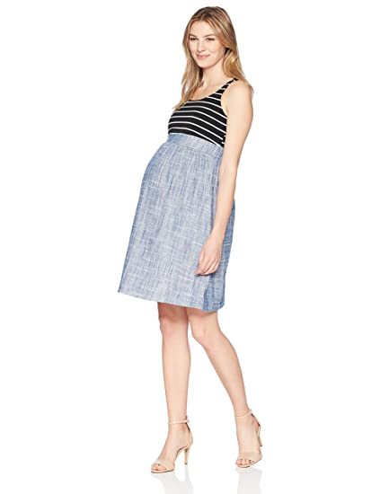 97aed369fdf5d Maternal America Women's Maternity Empire Seersucker Dress, Black  Stripe/Denim, Extra Small