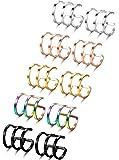 Jstyle 2-8 Pcs Stainless Steel Ear Cuff Earrings for Women Men Cartilage Earrings Hoop Lip Ring Non Piercing