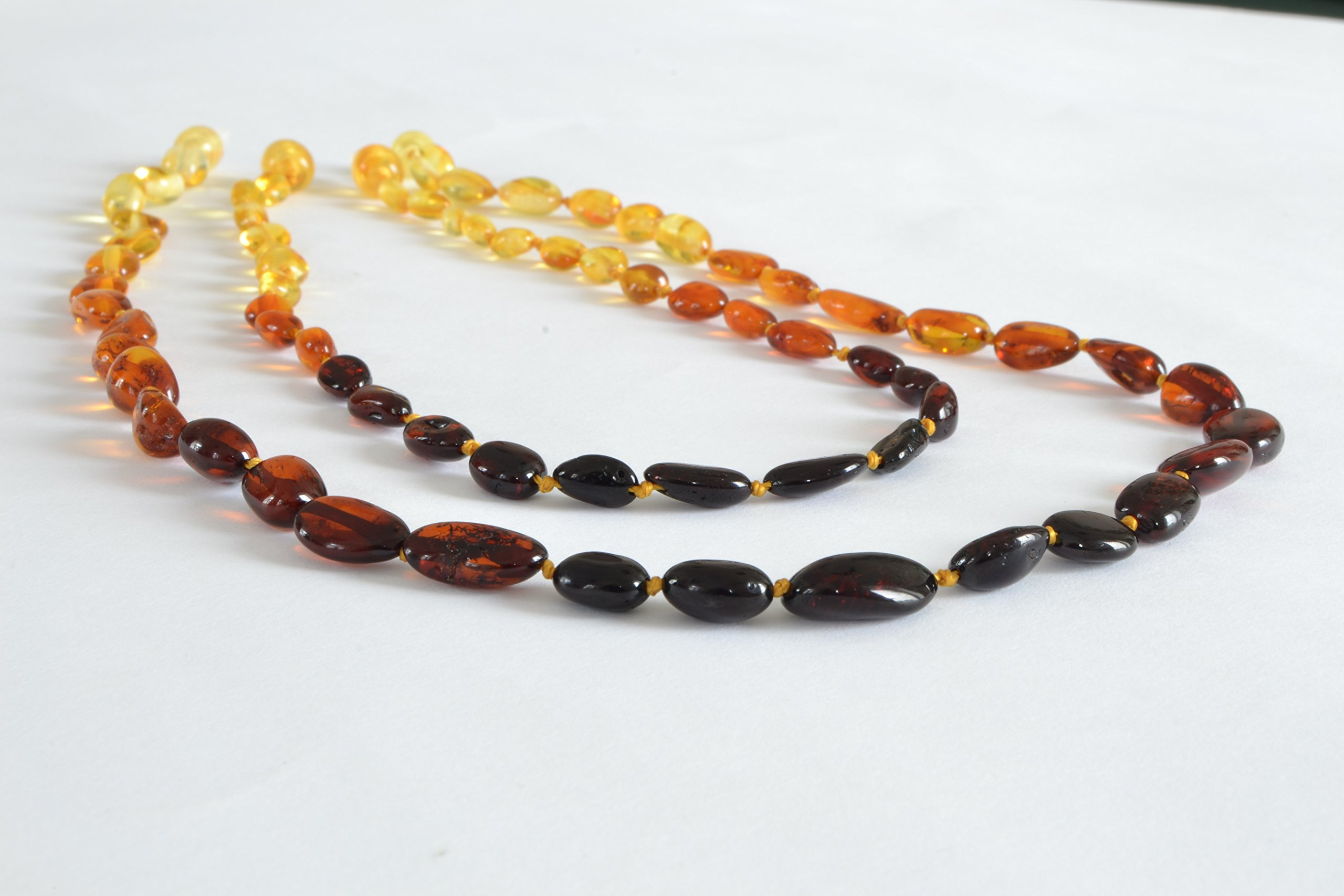 The Art of Cure Original Baltic Amber Necklace set for Mom & Child - Polished Handmade (RAINBOW BEAN) Unisex - 17in & 12.5 Inches by The Art of Cure