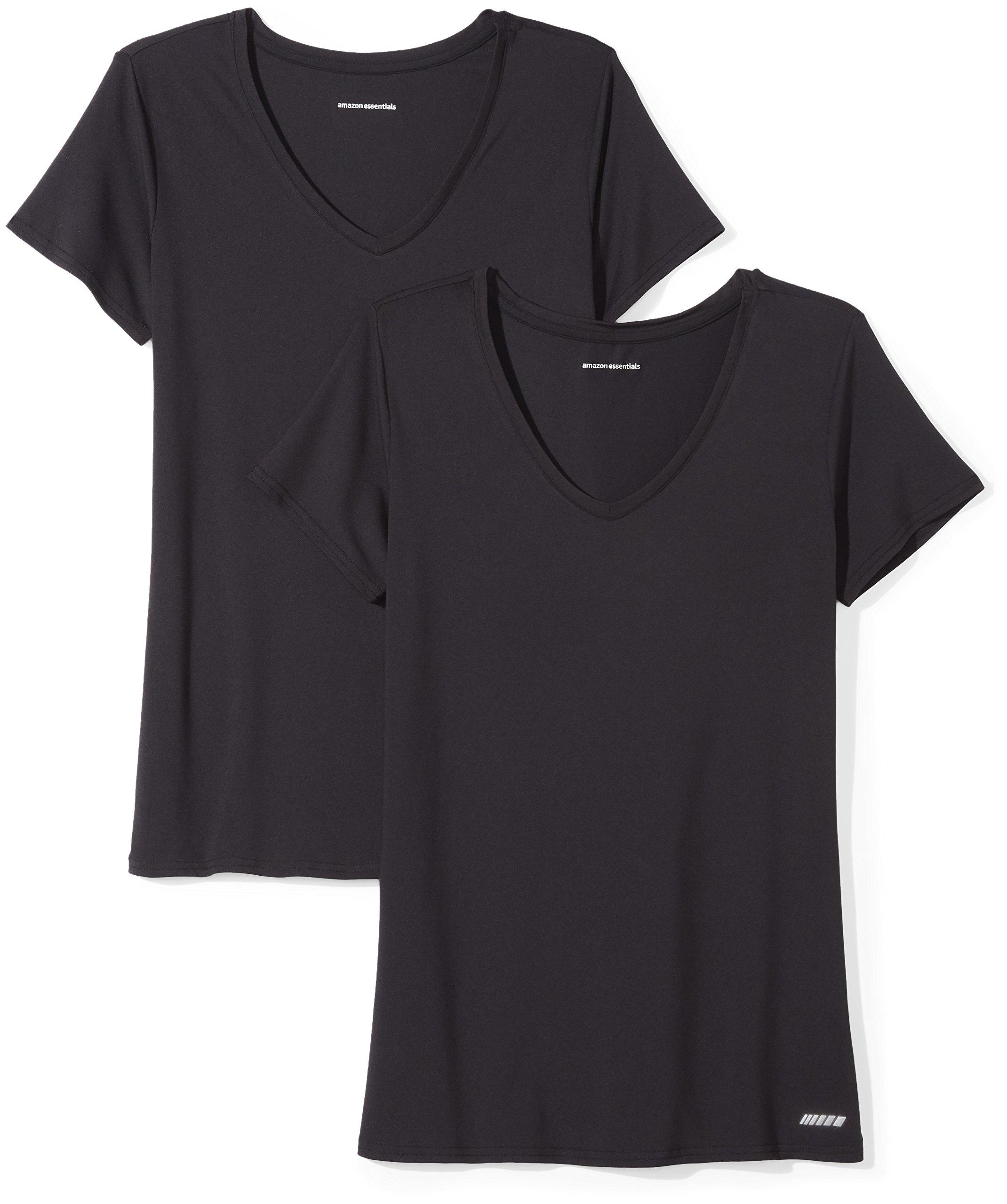 Amazon Essentials Women's Standard 2-Pack Tech Stretch Short-Sleeve V-Neck T-Shirt Black, Large