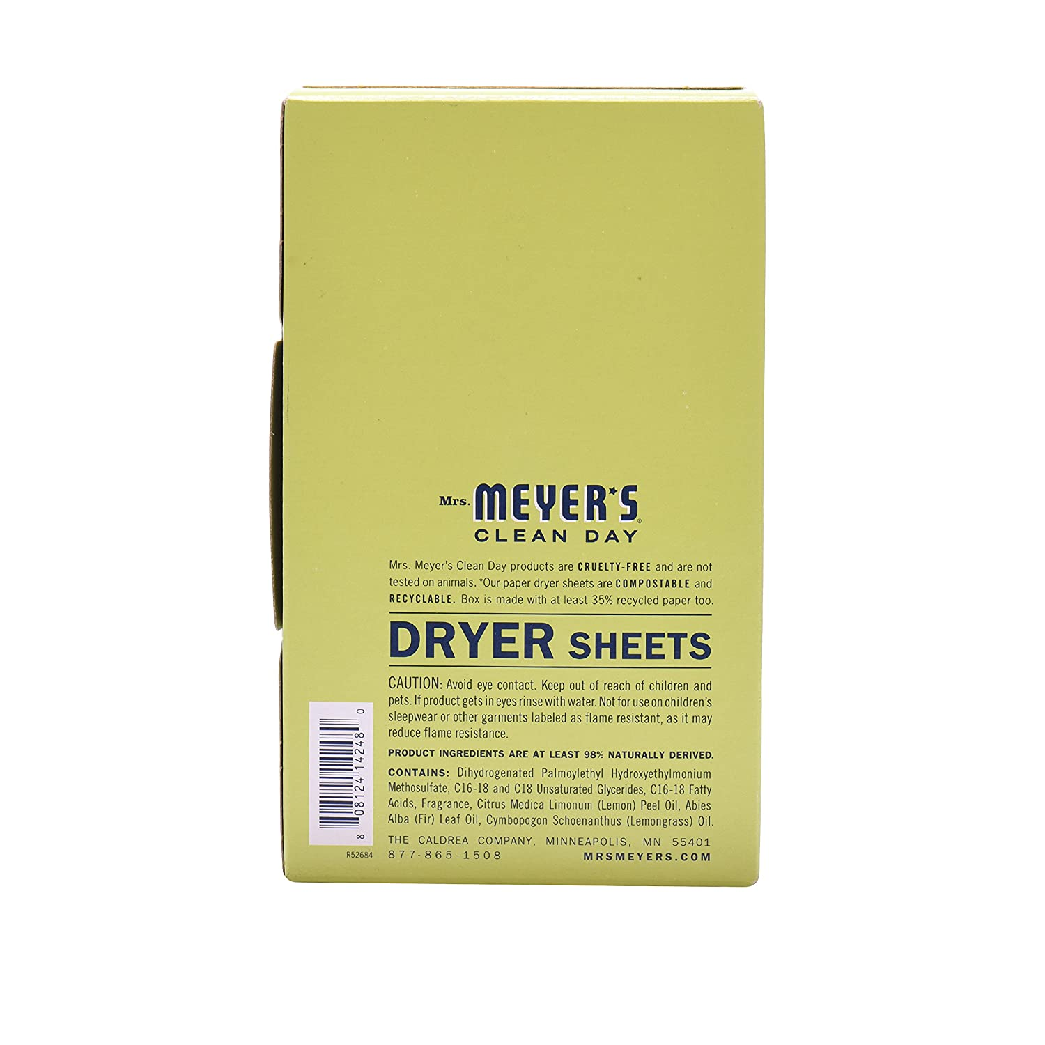 Mrs  Meyer's Clean Day Dryer Sheets, Lemon Verbena Scent, 80 count