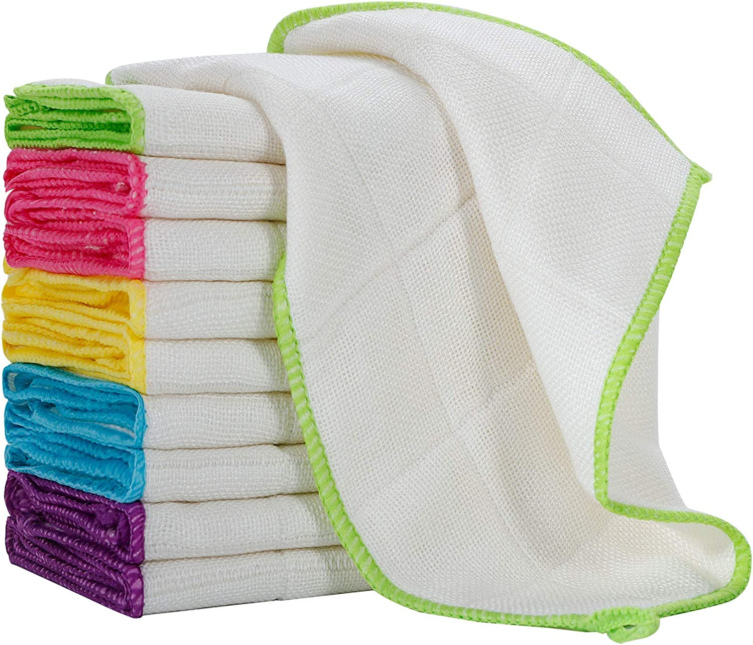 10pcs Pack Green Microfiber Cloth Towels Rag Fit For Car Washing Cleaning Caring