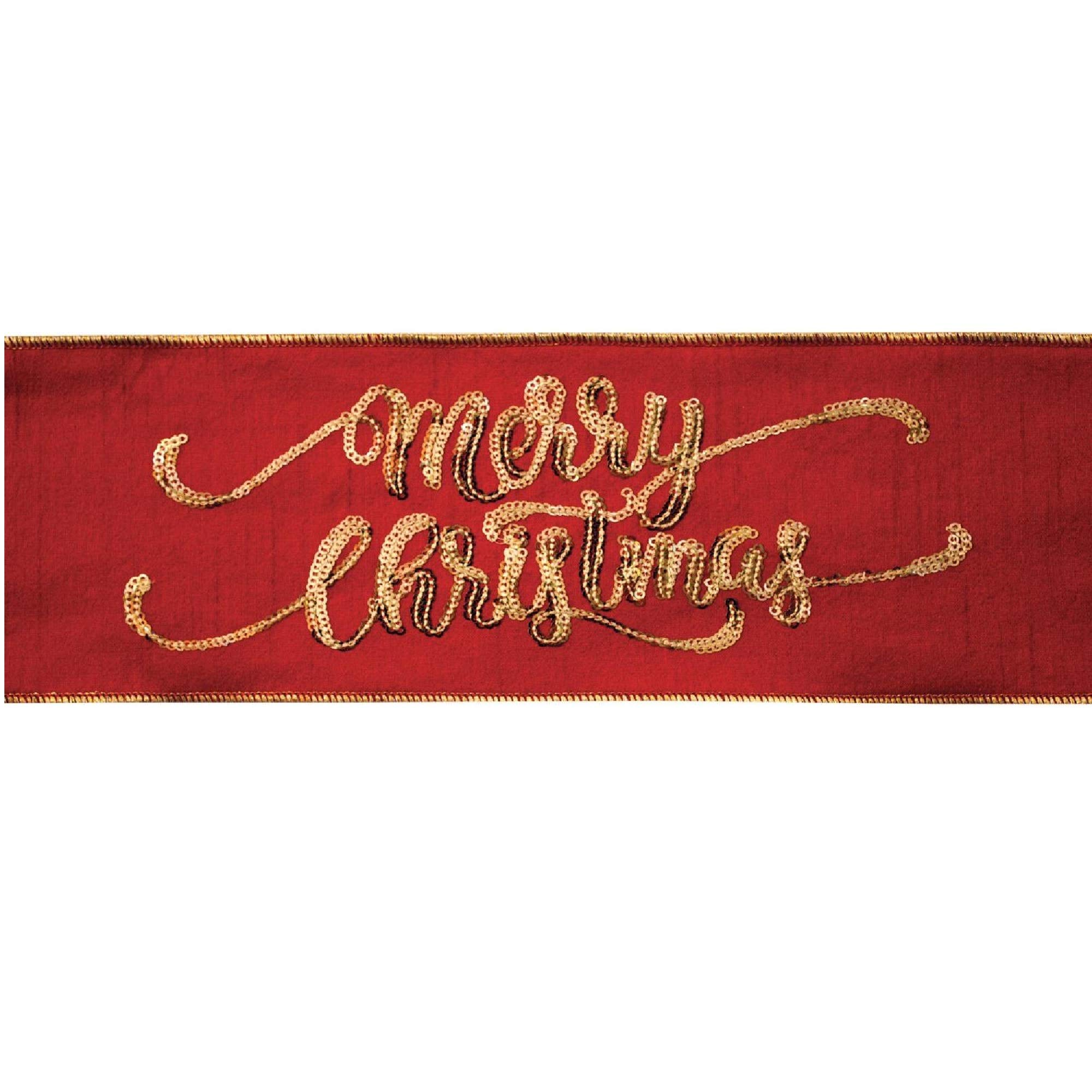 Diva At Home Pack of 6 Red and Gold Merry Christmas Embroidered Wired Craft Ribbons 4'' x 5 Yards