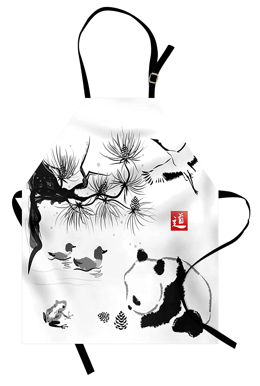 Panda bear traditional japanese painting style art hieroglyph way unisex kitchen bib apron adjustable neck cooking baking gardening black white red